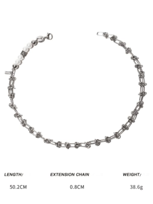 Titanium steel necklace Brass Imitation Pearl Letter Vintage Necklace
