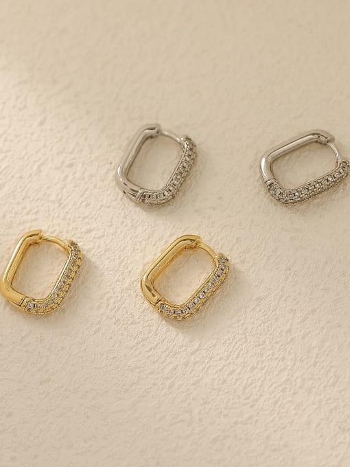 HYACINTH Brass Cubic Zirconia Geometric Vintage Huggie Trend Korean Fashion Earring 3