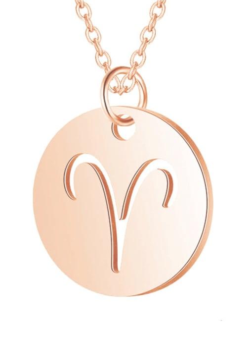 Aries rose gold Titanium Steel Constellation Minimalist  Round Pendant Necklace