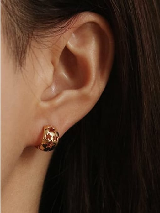 ACCA Brass Smooth Geometric Minimalist Huggie Earring 1