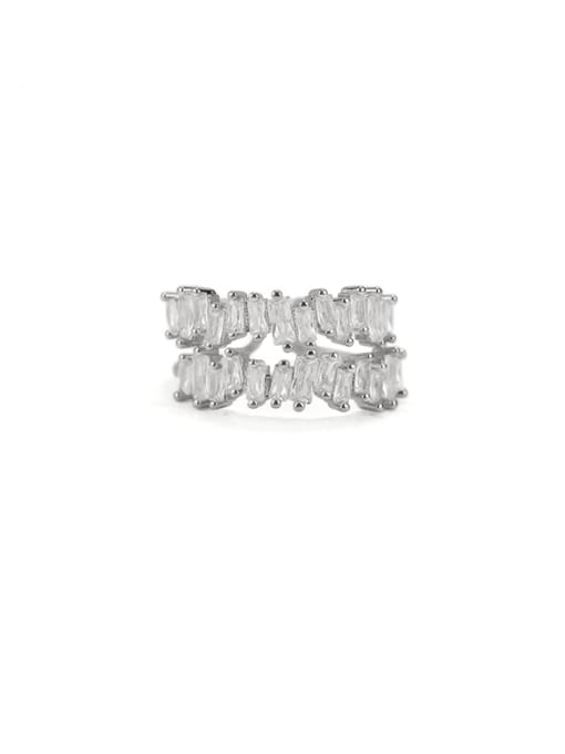 ACCA Brass Cubic Zirconia Geometric Vintage Band Ring 0