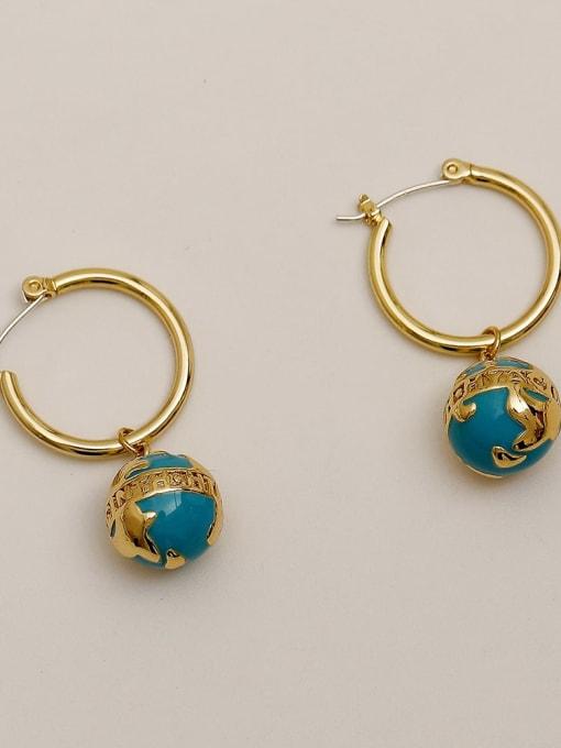 14k Gold Brass Enamel Geometric Vintage Huggie Earring