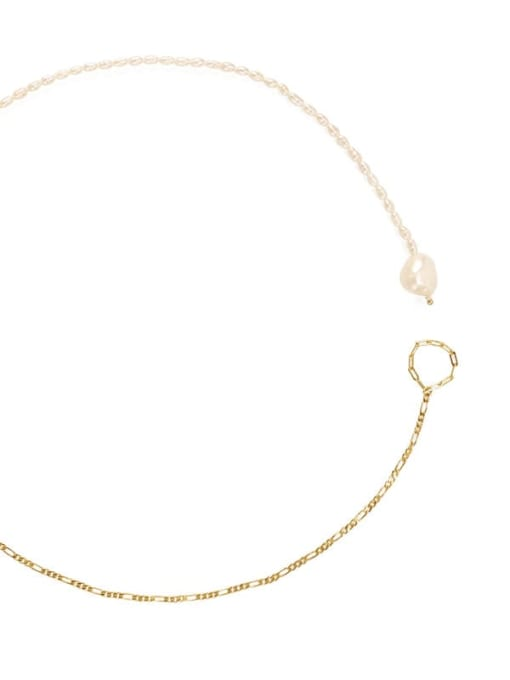 ACCA Brass Freshwater Pearl Geometric Minimalist Necklace 2