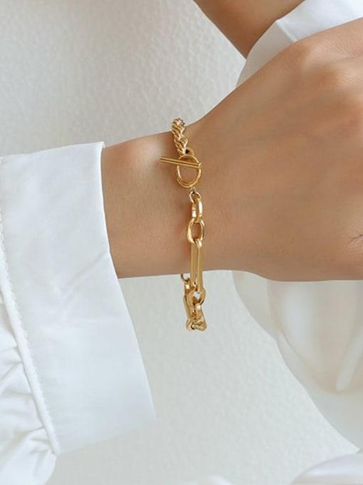 Five Color Brass Geometric Hip Hop Link Bracelet 1