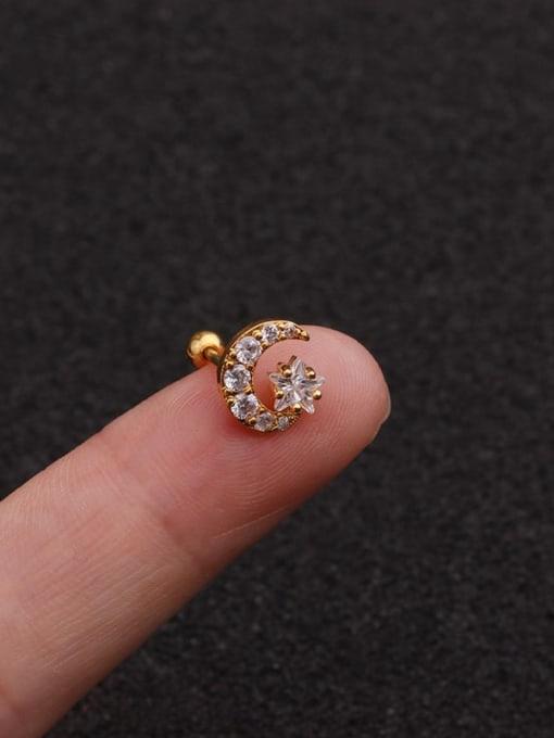 golden(Single) Brass Cubic Zirconia Star Minimalist Stud Earring