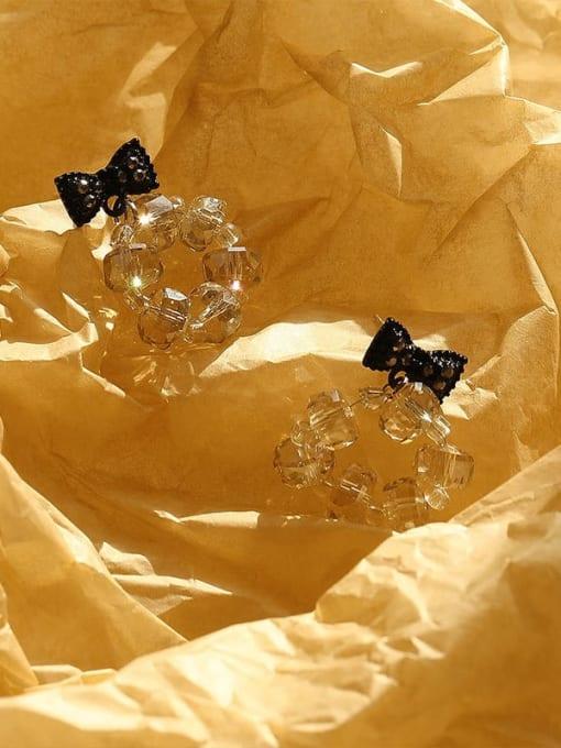 HYACINTH Brass Crystal Bowknot Hip Hop Drop Earring 3