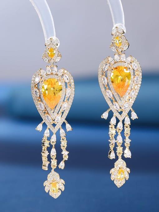 yellow Brass Cubic Zirconia Water Drop Luxury Drop Earring