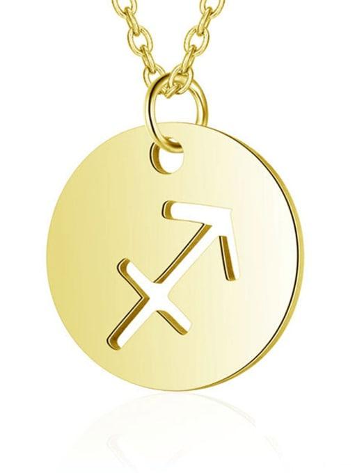 Sagittarius gold Titanium Steel Constellation Minimalist  Round Pendant Necklace