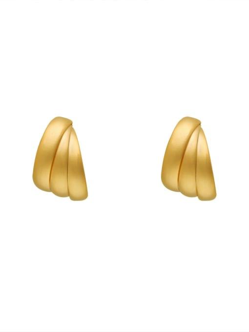 Dumb gold Brass Smooth Geometric Ethnic Stud Earring