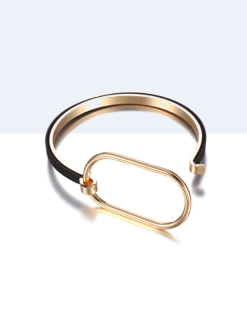 Gold Black Brass Leather Geometric Minimalist Bracelet