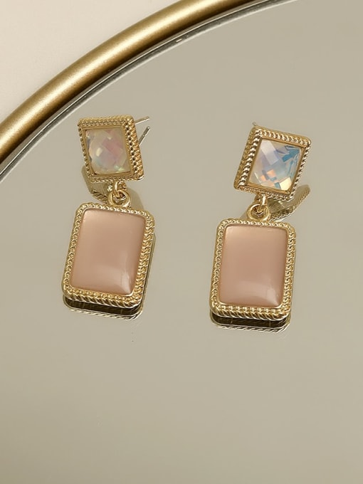 Light pink Copper Resin Geometric Vintage Drop Earring
