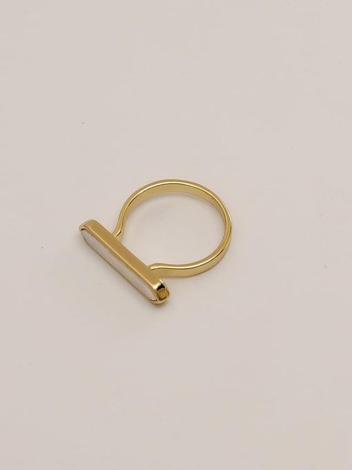 HYACINTH Brass Shell Geometric Minimalist Band Ring 3