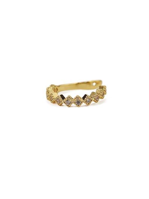 Square zircon Brass Cubic Zirconia Geometric Vintage Clip Earring