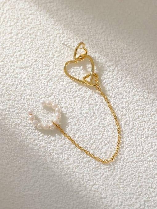 HYACINTH Brass Imitation Pearl Heart Minimalist Single Earring 0