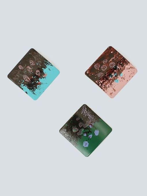 Five Color Alloy Enamel Geometric Hip Hop Stud Earring 3
