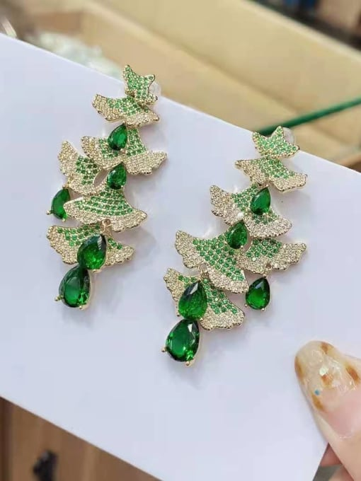 Christmas tree gold Brass Cubic Zirconia Christmas Tree  Luxury Drop Earring
