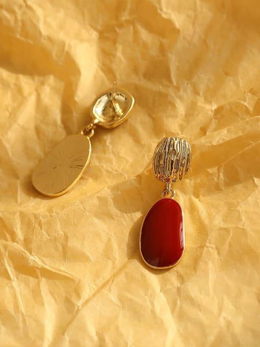 HYACINTH Brass Enamel Geometric Vintage Drop Earring 4