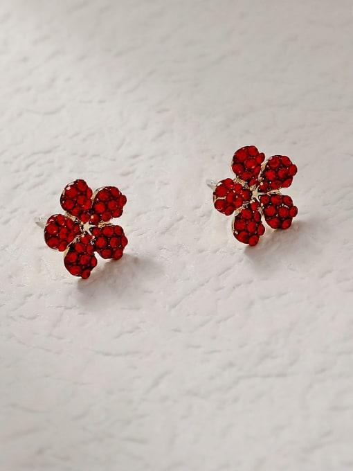 flower Brass Rhinestone Flower Minimalist Stud Trend Korean Fashion Earring