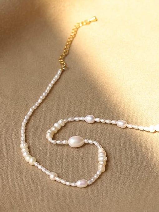 ACCA Brass Freshwater Pearl Geometric Minimalist Necklace