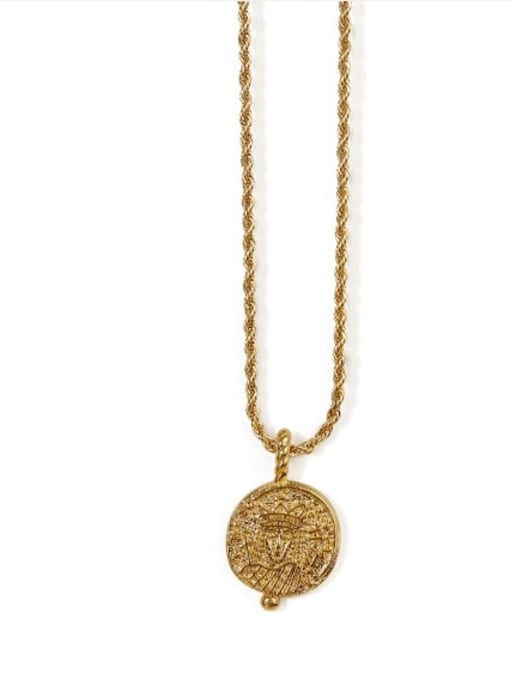 1 Brass Vintage  Vintage embossed coin round card Necklace