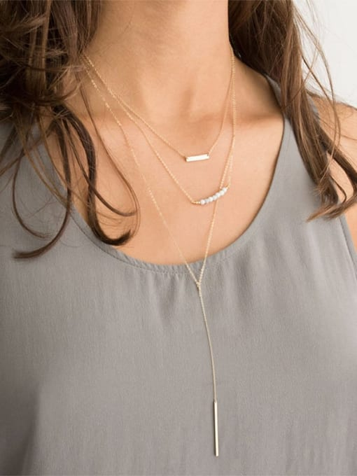 Desoto Stainless steel Tassel Minimalist Multi Strand Necklace