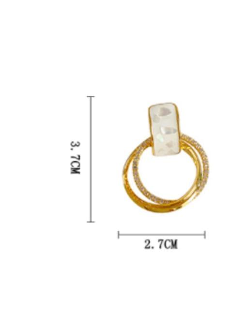 HYACINTH Brass Shell Geometric Minimalist Clip Earring 3