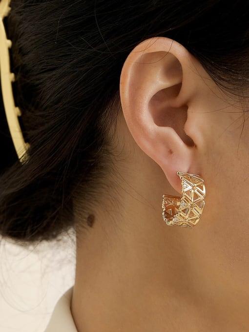 HYACINTH Brass Rhinestone  Hip Hop Hollow C-shaped  Stud Earring 1