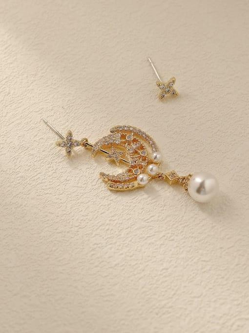14k Gold Brass Cubic Zirconia Asymmetry Moon Vintage Drop Trend Korean Fashion Earring