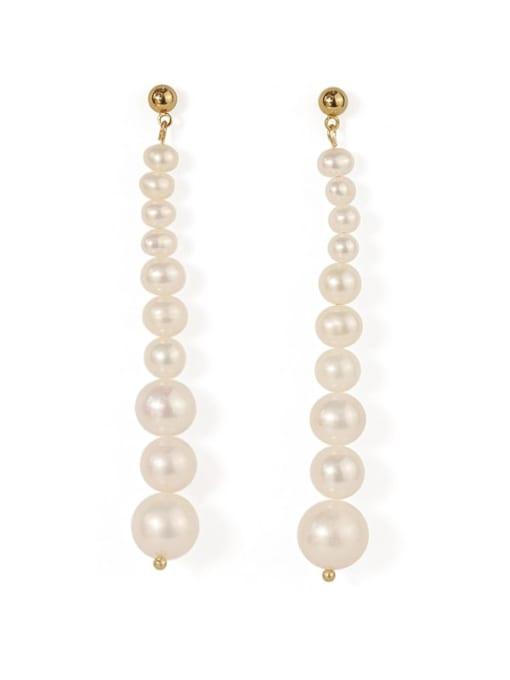 ACCA Brass Freshwater Pearl Tassel Vintage Drop Earring 3