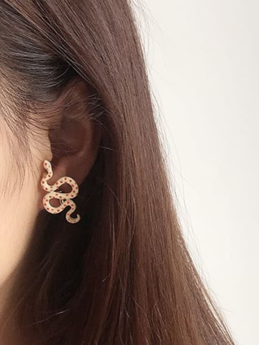 Five Color Alloy Enamel Snake Cute Stud Earring 1
