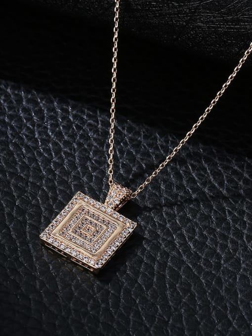 Champagne gold Brass Cubic Zirconia Geometric Minimalist Necklace