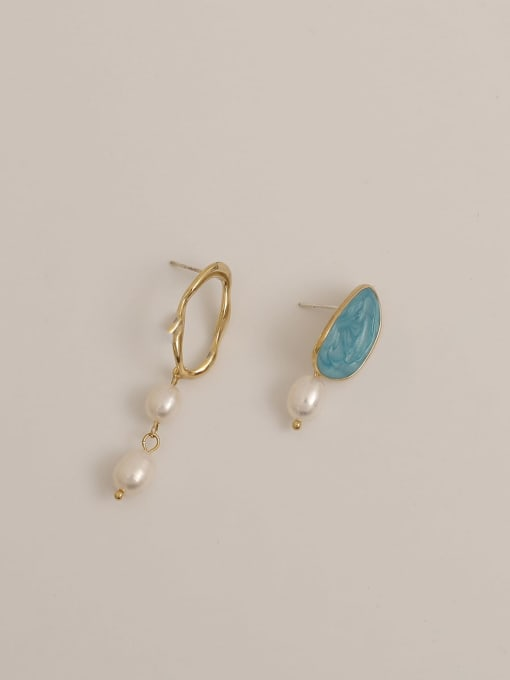 14K true golden lake blue Brass Enamel Asymmetry Geometric Vintage Drop Earring