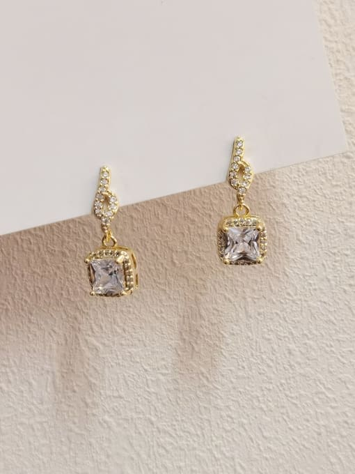 HYACINTH Brass Cubic Zirconia Geometric Minimalist Drop Earring 0