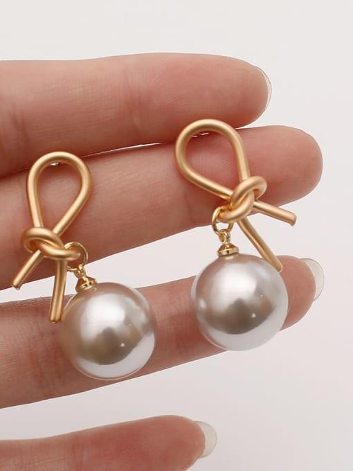 HYACINTH Brass Imitation Pearl knot Vintage Drop Earring 1