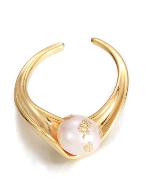 Five Color Brass Imitation Pearl Irregular Vintage Band Ring 3