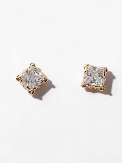 Square crown stud Brass Cubic Zirconia Geometric Minimalist Stud Earring