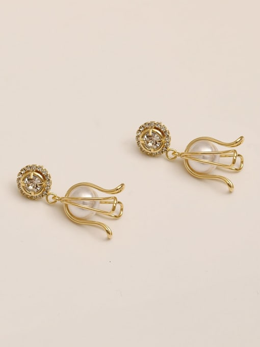 14k Gold Brass Imitation Pearl Geometric Ethnic Drop Earring