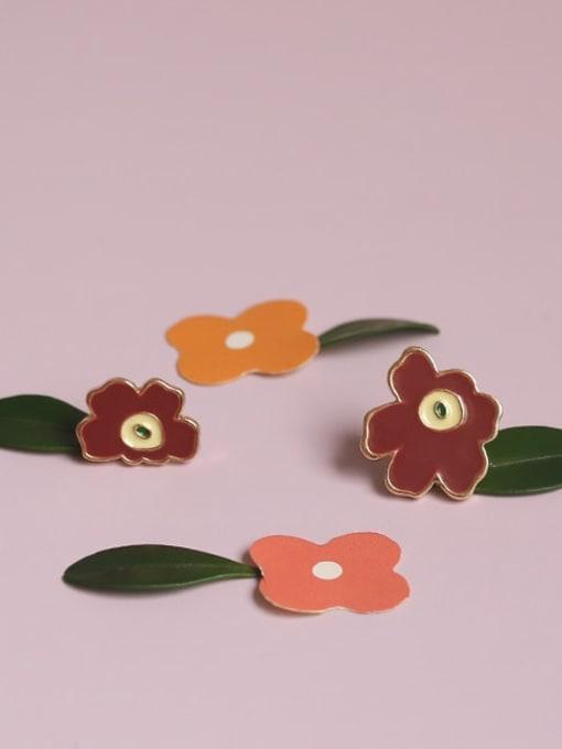 Five Color Alloy Enamel Flower Minimalist Stud Earring 0