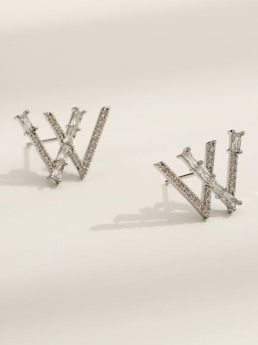 white K Brass Cubic Zirconia Letter W Vintage Stud Earring