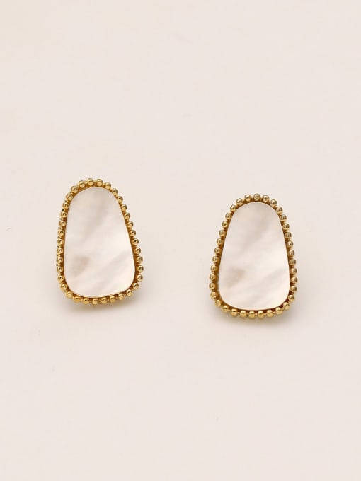 14k gold Brass Shell Geometric Minimalist Stud Earring