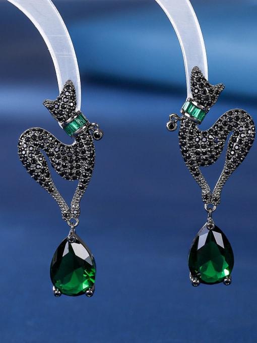green Brass Cubic Zirconia Water Drop Luxury Stud Earring