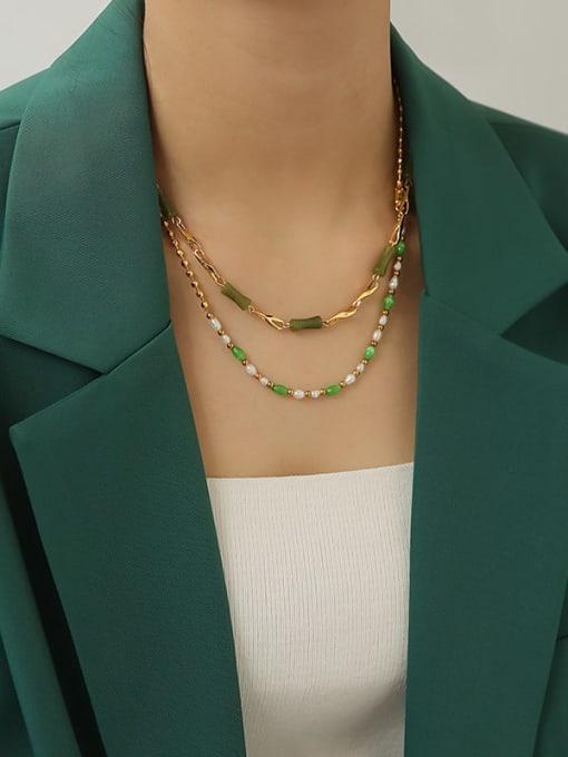 TINGS Brass Shell Geometric Minimalist Necklace 2