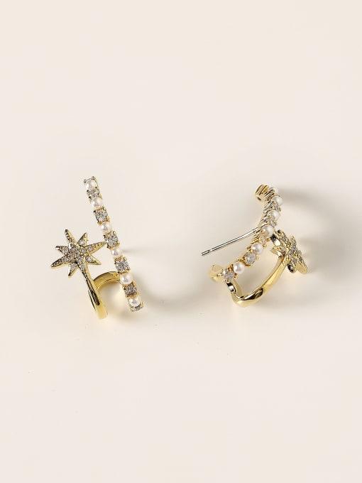 HYACINTH Brass Imitation Pearl Geometric Trend Stud Earring 3