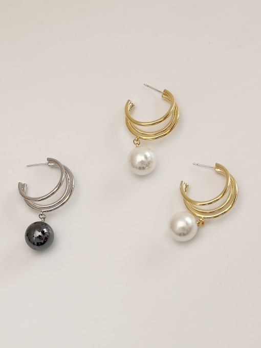 HYACINTH Brass Imitation Pearl Geometric Ethnic Stud Earring