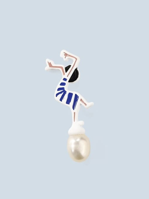 1 (for sale only) Alloy Imitation Pearl Enamel Irregular Cute Stud Earring