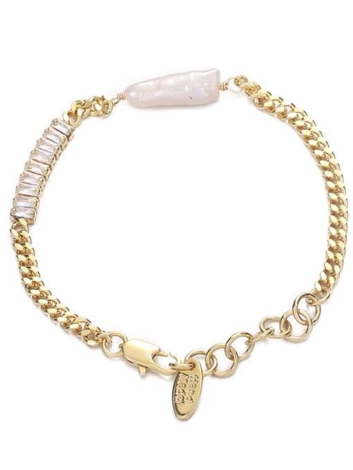 Pearl Zircon Bracelet Brass Cubic Zirconia Geometric Hip Hop Link Bracelet