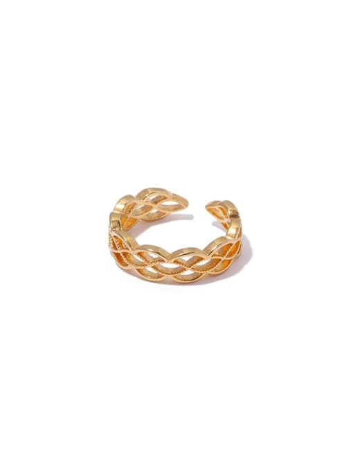 5 (adjustable opening) Brass Hollow Geometric Vintage Band Ring