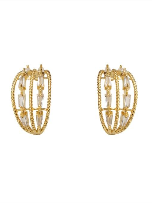 HYACINTH Copper Cubic Zirconia Geometric Minimalist Stud Earring