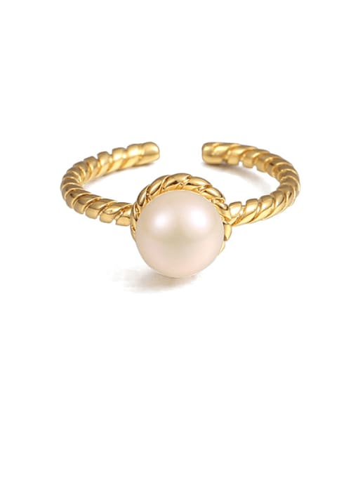 Thread ring Brass Imitation Pearl Geometric Vintage Band Ring