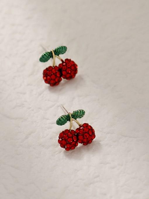 HYACINTH Brass Rhinestone Friut Cute Stud Trend Korean Fashion Earring 3